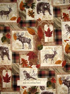 Timeless Treasures Cabin Wildlife Bear Moose Autumn Leaves Cotton Fabric Yard | eBay