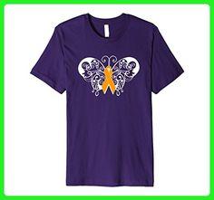 Mens Multiple Sclerosis Awareness T Shirt Orange Ribbon Butterfly Medium Purple - Animal shirts (*Amazon Partner-Link)