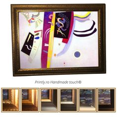 Comanda pe www.printly.ro tablouri canvas, inramate cu rama din lemn, sau tablouri pictate. Colectie Tablouri handmade (pictate partial), reproduceri ale unor tablouri celebre Kandinski. Canvas, Frame, Handmade, Home Decor, Tela, Picture Frame, Hand Made, Decoration Home, Room Decor