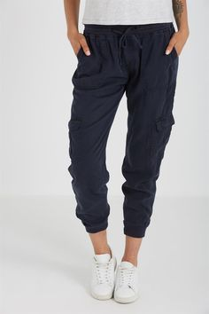 Kick back and look fly in these lightweight joggers. Slim fit and luxe fabric makes these versatile bottoms perfect for day and night.<br /><br /> - Relaxed fit with room to move<br /> - Mid rise waistline<br /> - Full length to the ankle<br /> - Elasticated waistband<br /> - Functional drawcord<br /> - Pockets at the hips and rear<br /> - Elasticated ankle cuffs<br /> <br />MODEL ...