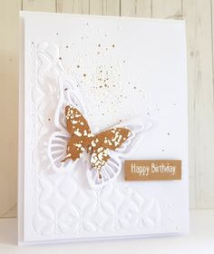 Butterfly Card, Embossed Die Technique, Shabby Embossing Enamel, Happy Birthday, Happy Little Stampers, Kylie Purtell, Birthday Card