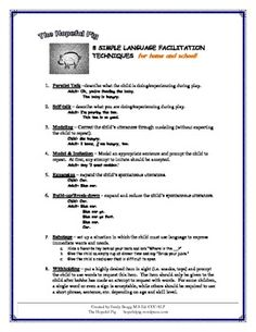 Language Facilitation Handout - for home and school - Pinned by @PediaStaff – Please Visit  ht.ly/63sNt for all our pediatric therapy pins