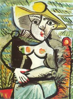 "Pablo Picasso - ""Sitting woman with a hat "", 1971 Pablo Picasso - More Pins Like This At FOSTERGINGER @ Pinterest"