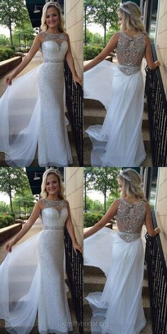 Ivory Prom Dresses Long, 2018 Prom Dresses For Teens Cheap, Sheath/Column Formal Party Dresses Scoop Neck, Chiffon Evening Pageant Dresses Tulle Beading Ivory Prom Dresses, Senior Prom Dresses, Prom Dresses For Teens, Elegant Prom Dresses, Prom Dresses 2018, Long Prom Gowns, Prom Dresses Online, Cheap Prom Dresses, Party Dresses