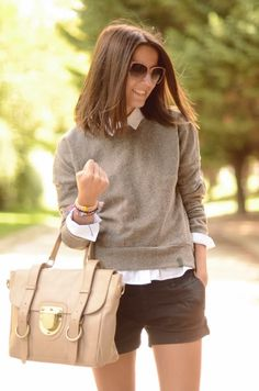 light layers for summer - Sweater layered over a Button Down Shirt and Shorts
