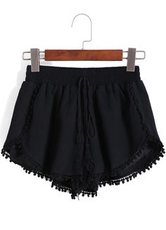 SheIn offers Black Elastic Waist Peplum Trims Shorts & more to fit your fashionable needs. White Denim Shorts, Loose Shorts, Cute Shorts, Boho Shorts, Short Outfits, Summer Outfits, Short Dresses, Cute Outfits, Buy Jeans Online