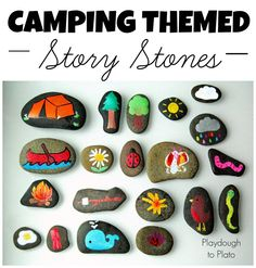 I love these!! Camping Themed Story Stones. Such a fun way to work on storytelling and writing. {Playdough to Plato}