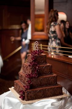 We love chocolate cake! Photo by Troy. http://www.bellagala.com/wedding-cakes/index.html
