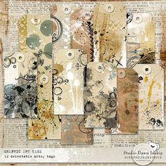 Graphic Art Tags #artandstyle #artjournal #dawninskip #scrapbookgraphics #doodle #paper #stamps #graphicarttags #handmade