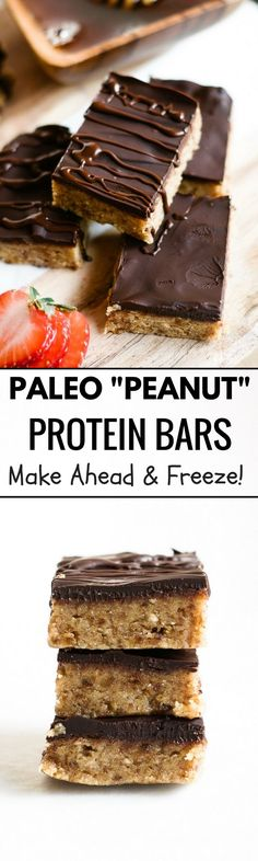 "Best Paleo ""Peanut Butter"" Protein Bars. Gluten free, paleo, and healthy snacks and dessert recipes for on the go. Easy paleo cookies."