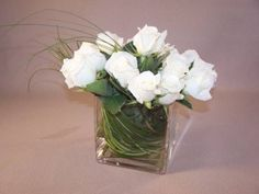 White roses in square vase - my favorite, along with white tulips or peonies (or both!)