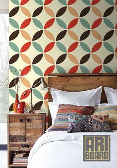 Retro Circles Pattern - self adhesive DIY wallpaper, home decor, Peel n Stick 23...