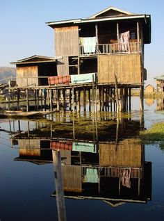 Stilt house . Inle Lake . Myanmar