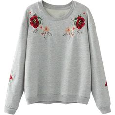 Gray Embroidery Flower Long Sleeve Sweatshirt ($32) ❤ liked on Polyvore featuring tops, hoodies, sweatshirts, embroidered sweatshirts, grey long sleeve top, long sleeve tops, grey top and gray sweatshirt