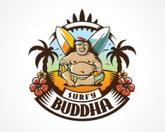 Surfy Buddha Logo design - This funny brand is suitable for few business sectors from surf wear shops to beach bars. Price $800.00