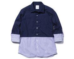 uniform experiment 3/4 SLEEVE 2 TONE REGULAR COLLAR SHIRT