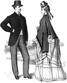 Fashion, Man, Woman, Cane, 1800S, Nineteenth Century