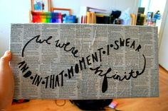 DIY wall art. newspaper or other pretty paper and a sharpie! LOVE IT