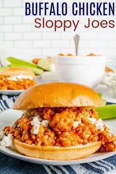 Buffalo Chicken Sloppy Joes - your favorite easy dinner sandwich with the spicy wing flavor you crave in a healthy recipe you can make even on busy weeknights! Serve it the classic way on a roll, or get creative and make stuffed potatoes, lettuce wraps, salads, and more. Don't forget the Ranch or blue cheese dressing! Fast Dinner Recipes, Fast Dinners, Easy Weeknight Dinners, Chicken Sloppy Joe Recipe, Sloppy Joes Recipe, Kale Chip Recipes, Spicy Wings, Stuffed Potatoes, Dinner Sandwiches