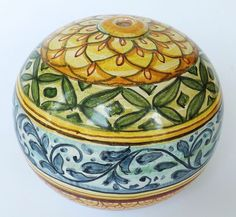 """.  Lamp """"Synkeran Line"""". Base for electric Lamp in majolica, hand-painted. Stripe Decoration on 'vietri' Varnish."""