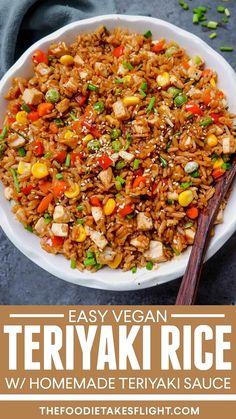 Vegan Rice Dishes, Vegan Fried Rice, Rice Recipes Vegan, Vegan Dinner Recipes, Delicious Vegan Recipes, Veggie Recipes, Asian Recipes, Whole Food Recipes, Vegetarian Recipes
