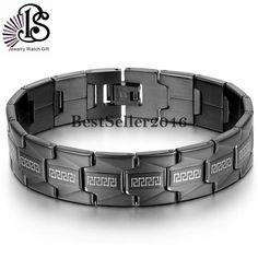 USA Greek Key Black Stainless Steel Link Chain Men's Bracelet Cuff FREE SHIPPING #bestseller2046 #Chain