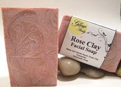 Rose Clay Facial Soap Handmade Facial Soap by GlowBodyandSoul