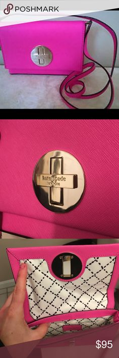 """KATE SPADE Sally Newbury Lane Pink Lthr Crossbody Kate Spade Newbury Lane Sally Crossbody Bag Fuchsia - Made of saffiano leather.- Approx. 11 1/2"""" x 9 1/2"""" x 4 1/2"""". Approx. 21"""" long strap drop.- Snap closure.- Interior 1 multifunction pocket.- Fabric lining. 14-karat gold plated hardware. Used once. Like new! kate spade Bags Crossbody Bags"""