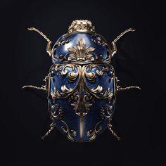 Juwel bug by Melaamory - Gary Pierre-paul - Pinforyou Insect Jewelry, Jewelry Art, Antique Jewelry, Vintage Jewelry, Jewelry Design, Jewellery, Greek Jewelry, Steampunk, Beautiful Bugs