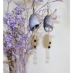 earrings Silk grey Cocoon earrings, dangle bohemian earrings, Earrings... ($20) ❤ liked on Polyvore featuring jewelry, earrings, earring jewelry, beaded earrings, beaded dangle earrings, bead jewellery and grey jewelry