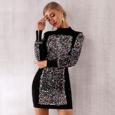 Long Sleeve Sequined Mini Luxury Club Dress #minidress #Luxury #ClubDress #Cocktail #Partywear #Clubwear #Sexywear #Runway #goodvibes Cheap Dresses, Sexy Dresses, Short Dresses, Fashion Dresses, Mini Club Dresses, Sexy Party Dress, The Dress, Boutique, Bodycon Dress