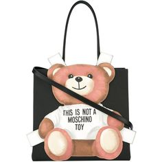 Moschino teddy bear tote bag (1,110 NZD) ❤ liked on Polyvore featuring bags, handbags, tote bags, black, genuine leather tote bag, moschino purse, moschino tote, leather tote purse and leather tote bags