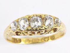 WONDERFUL ANTIQUE VICTORIAN ENGLISH 18K GOLD ¾ct 5-STONE DIAMOND RING c1858 Antique Gold Rings, Antique Jewelry, English, Vintage Antiques, 18k Gold, Victorian, Wedding Rings, Engagement Rings, Stone