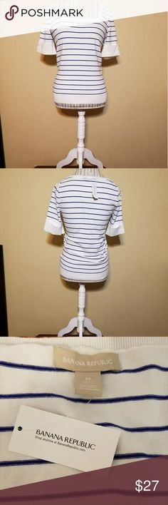 NWT BANANA REPUBLIC SHIRT BLOUSE!! NWT BANANA REPUBLIC SHIRT BLOUSE!! Size medium. Brand new with tags. Retails for $60. No flaws. White with blue stripes. Love the neckline cut on this shirt! Check out my other items to bundle and save on shipping! Offers accepted. I ship same day!    Inventory #16B Banana Republic Tops