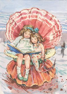 "Claire Fletcher, ""Girl and Mermaid Reading together"""