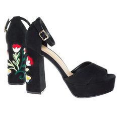 #Spirit16S Stitching Floral Embroidery On High Chunky Block Heel Platform Sandal
