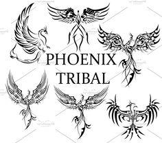 Phoenix Tribal Tattoo Bundle by Natsuhisui on Creative Market - Phoenix Tribal Tattoo Bundle by Natsuhisui on Creative Market You are in the right place about diy f - Phoenix Tribal Tattoo, Tribal Tattoos, Small Phoenix Tattoos, Grey Ink Tattoos, Tattoos Skull, Tribal Tattoo Designs, Elephant Tattoos, Celtic Tattoos, Body Art Tattoos