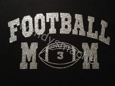 649482ca Items similar to Women's Football Mom Glitter Vinyl Tshirt with custom  number on front on Etsy