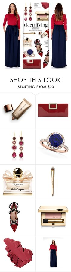 """""""DesirVale 1"""" by anyasdesigns ❤ liked on Polyvore featuring Nude by Nature, Roger Vivier, Pamela Huizenga, Allurez, Salvatore Ferragamo, Valentino, Clarins, Bobbi Brown Cosmetics and plus size dresses"""