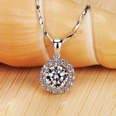 New Arrival Glamorous Rich Cut Diamond Pendant Women's Necklace - USD $229.95