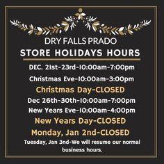 dry falls prado holiday store hours - Christmas Eve Store Hours