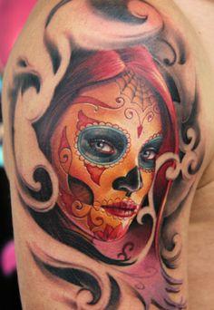 La Catrina - (c) James Tattooart Sugar Skull Mädchen, Sugar Skull Girl Tattoo, Tattoo Girls, Girl Tattoos, Tattoos For Guys, Shoulder Tattoos For Women, Sleeve Tattoos For Women, Great Tattoos, Body Art Tattoos