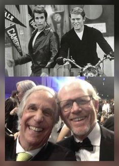 Happy Days-The Fonz (Henry Winkler) and Richie (Ron Howard).a few decades lat. 70s Tv Shows, Old Shows, Great Tv Shows, Happy Days Tv Show, The Fonz, Celebrities Then And Now, Famous Celebrities, Stars Then And Now, Vintage Tv