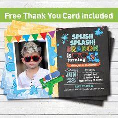 Splish Splash pool birthday partybinvitation. kids by CrazyLime