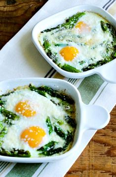 Baked Eggs and Asparagus with Parmesan found on KalynsKitchen.com