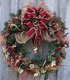 Christmas Wreath, Holiday Door Wreath, Victorian Decor, Elegant, Velvet Bow. $129.00, via Etsy.