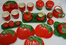 Vintage war era tomato ware from Maruhon during Occupied Japan - large collection of very rare pieces including the hard to find plates. Pretty cool.