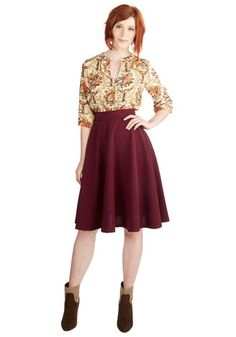 Bugle Joy Skirt in Burgundy. You hear your friends truck horn toot outside your window - your trumpet call to scoot this A-line skirt out the door and hop in! #red #modcloth