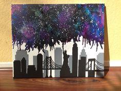 New York City skyline nebula melted crayon art by CrayonGogh