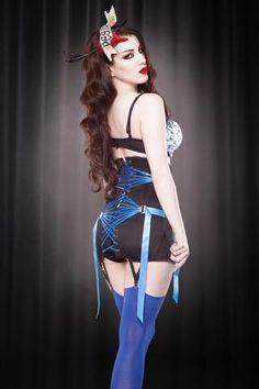 34a99e92d86 Made To Order Blue Fan Lace Girdle Vintage Lingerie